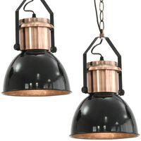 vidaXL Lampy sufitowe, 2 szt., czarne, okrągłe, E27