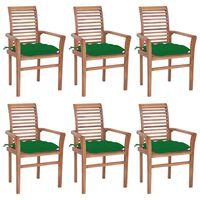 vidaXL Krzesła stołowe 6 szt., z zielonymi poduszkami, drewno tekowe