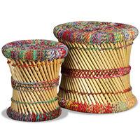 vidaXL Stołki w stylu chindi, 2 szt., wielokolorowe, bambus