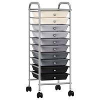 vidaXL Wózek z 10 szufladami, ombre, plastikowy