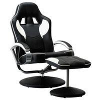 vidaXL Rozkładany fotel dla gracza z podnóżkiem, biały, ekoskóra