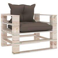 vidaXL Sofa ogrodowa z palet, poduszki w kolorze taupe, drewno sosnowe