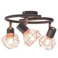 vidaXL Lampa sufitowa z 3 żarówkami E14, czarno-miedziana