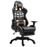 vidaXL Fotel dla gracza z podnóżkiem, złoty, sztuczna skóra