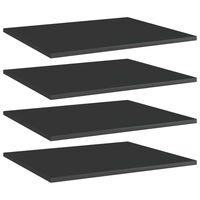 vidaXL Półki na książki, 4 szt., wysoki połysk, czarne, 60x50x1,5 cm