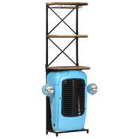 vidaXL Szafka na wino, niebieska, 49x31x170 cm, traktor, drewno mango
