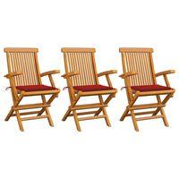 vidaXL Krzesła ogrodowe, czerwone poduszki, 3 szt., lite drewno tekowe