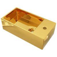vidaXL Umywalka z przelewem, 49 x 25 x 15 cm, ceramiczna, złota