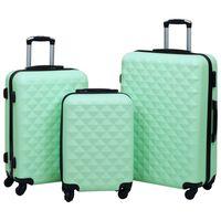 vidaXL Zestaw twardych walizek na kółkach, 3 szt., miętowy, ABS