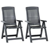 vidaXL Rozkładane krzesła do ogrodu, 2 szt., plastikowe, antracytowe