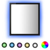 vidaXL Lustro łazienkowe LED, wysoki połysk, czarne, 40x8,5x37 cm