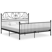 vidaXL Bed Frame Black Metal and Plywood 200x200 cm