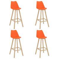 vidaXL Stołki barowe, 4 szt., pomarańczowe, PP i lite drewno bukowe