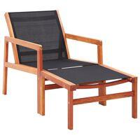 vidaXL Krzesło ogrodowe z podnóżkiem, eukaliptus i textilene