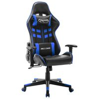 vidaXL Fotel dla gracza, czarno-niebieski, sztuczna skóra