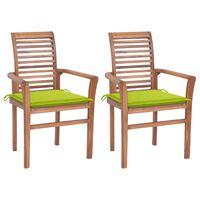 vidaXL Krzesła stołowe, 2 szt., jasnozielone poduszki, drewno tekowe