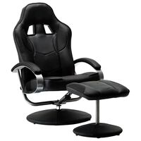 vidaXL Rozkładany fotel dla gracza z podnóżkiem, czarny, ekoskóra