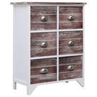 vidaXL Komoda z 6 szufladami, brązowa, 60x30x75 cm, drewno paulownia
