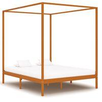 vidaXL Rama łóżka z baldachimem, miodowy brąz, lita sosna, 160x200 cm