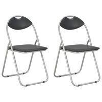 vidaXL Składane krzesła jadalniane, 2 szt., czarne, sztuczna skóra