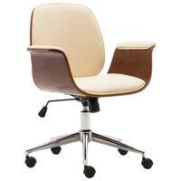 vidaXL Krzesło biurowe, kremowe, gięte drewno i sztuczna skóra