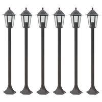 vidaXL Lampy ogrodowe, 110 cm, E27, aluminium, 6 szt., brązowe