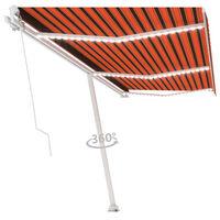 vidaXL Ręcznie zwijana markiza z LED, 600x300 cm, pomarańczowo-brązowa