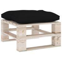 vidaXL Ogrodowy stołek z palet z czarną poduszką, drewno sosnowe