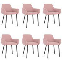 vidaXL Krzesła stołowe, 6 szt., różowe, obite aksamitem