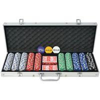 vidaXL Zestaw do gry w pokera 500 żetonów, aluminium