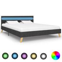 vidaXL Rama łóżka z LED, ciemnoszara, tkanina, 140 x 200 cm