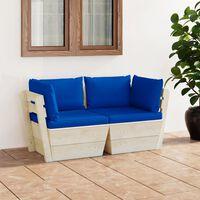 vidaXL Ogrodowa sofa 2-osobowa z palet, z poduszkami, drewno świerkowe