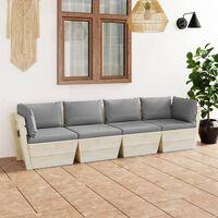 vidaXL Ogrodowa sofa 4-osobowa z palet, z poduszkami, drewno świerkowe